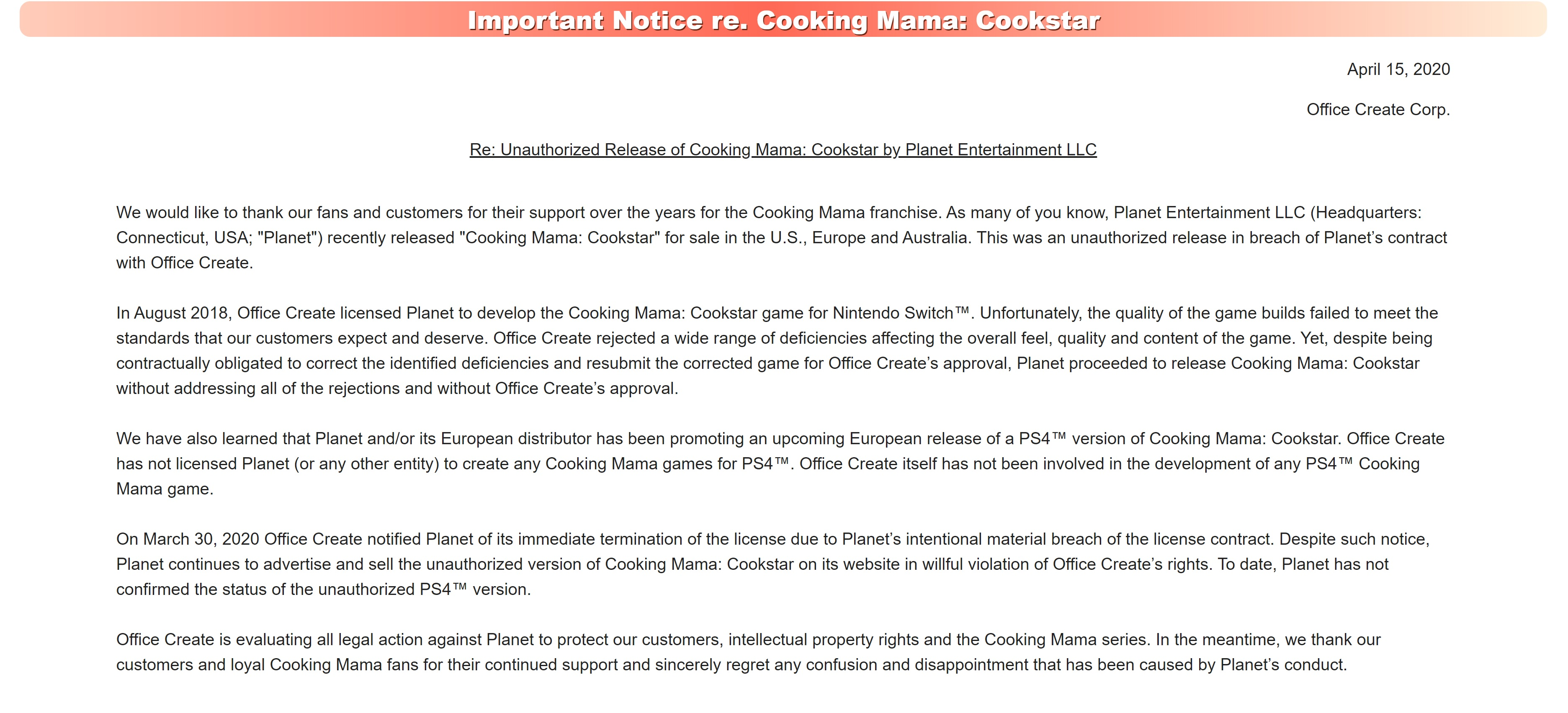 Cooking Mama Press Release