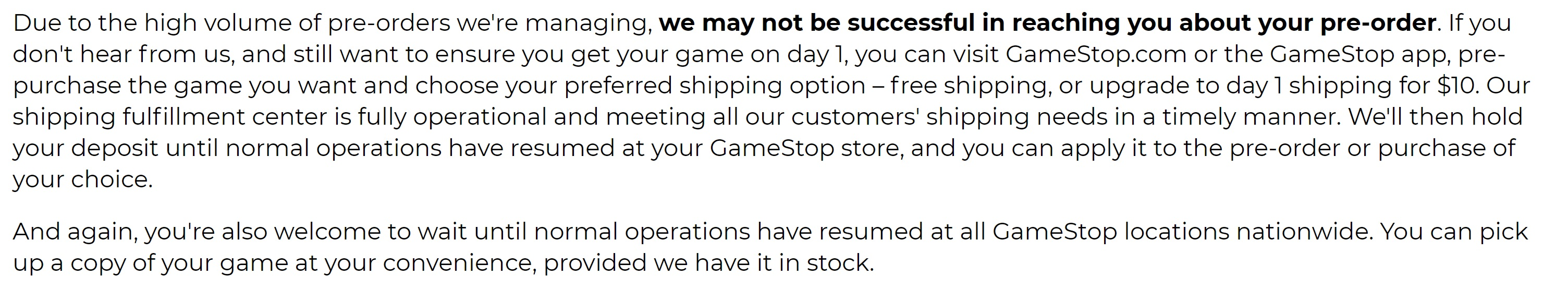 Gamestop Statement