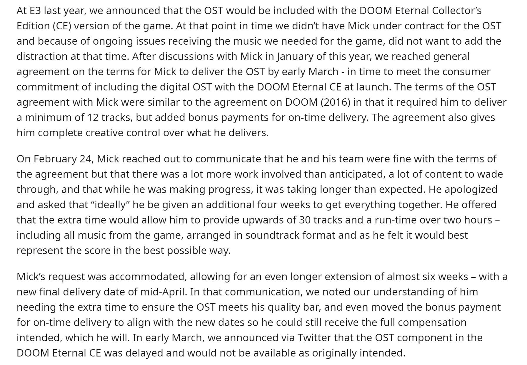 Doom Eternal Agreement with Mick