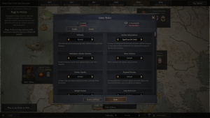 The game options page for Crusader Kings 3.