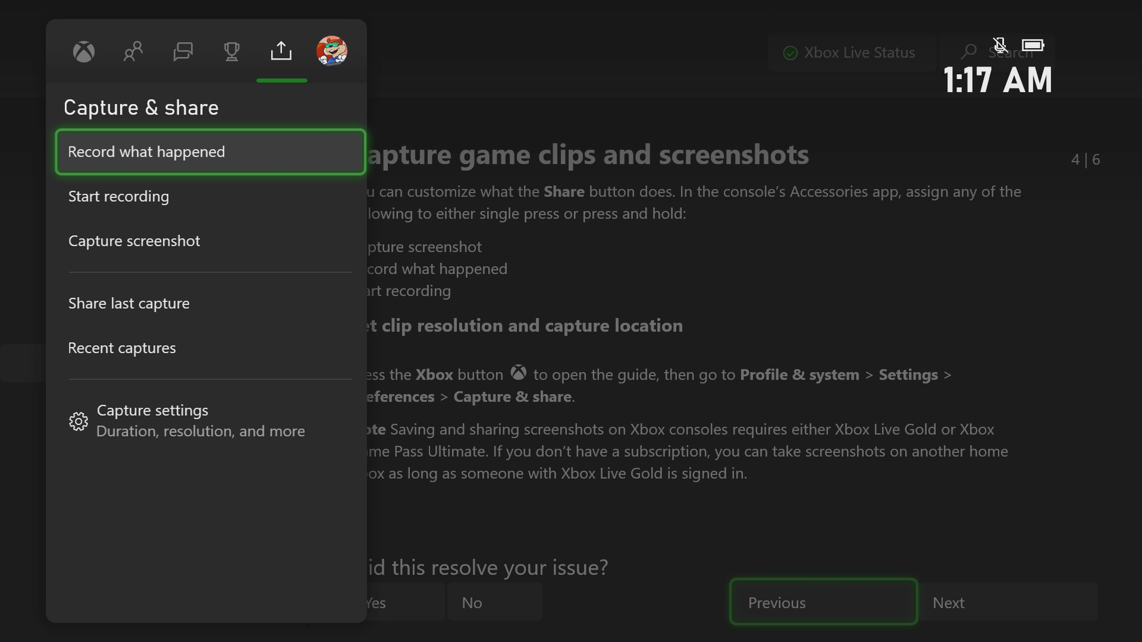 Xbox Series X Share Button Menu