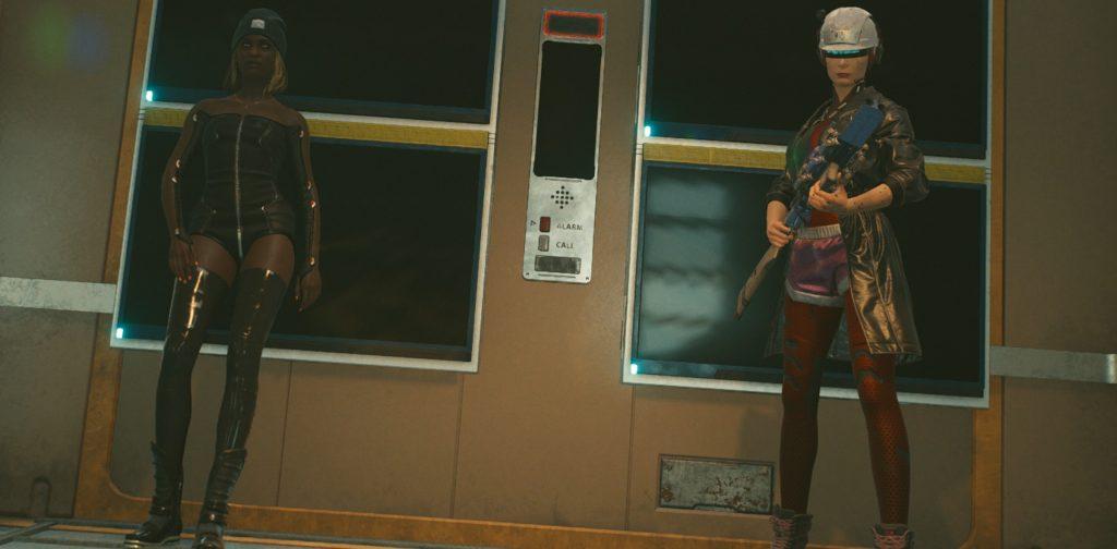 V waiting for her floor. Taken in-game, CD Projekt Red 2020