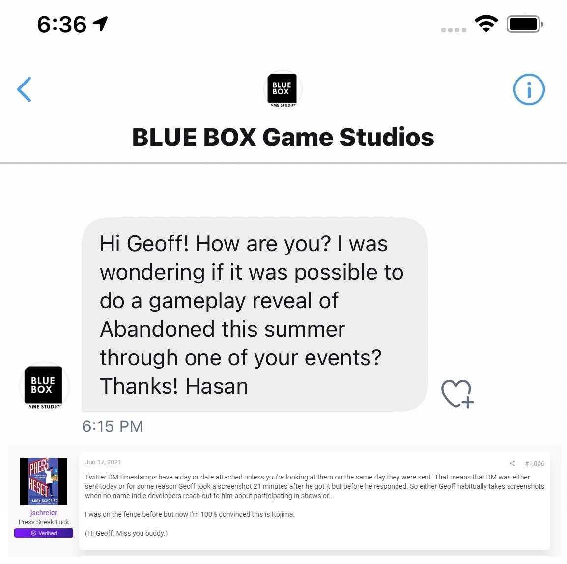 Blue Box Tweet